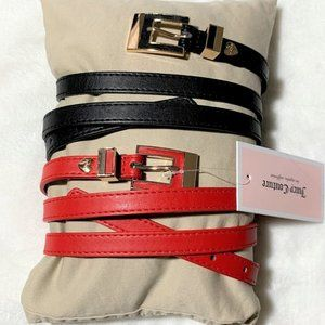 Juicy Couture 2 Pack Red and Black Skinny Belts